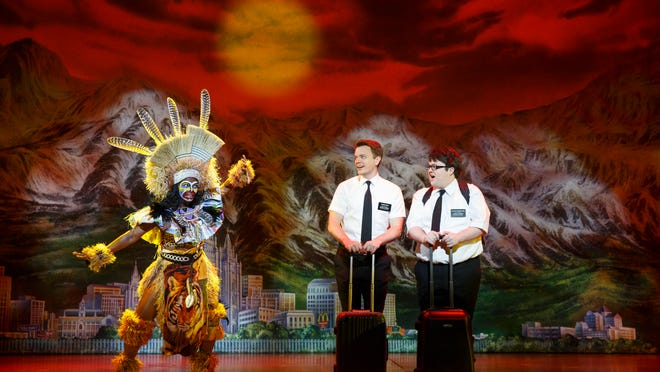 """Two Mormons (David Larsen, left, and Cody Jamison Strand) arrive in Uganda in """"The Book of Mormon."""" The touring musical broke box office records in Southwest Florida last season at both Mann Hall and Artis-Naples."""