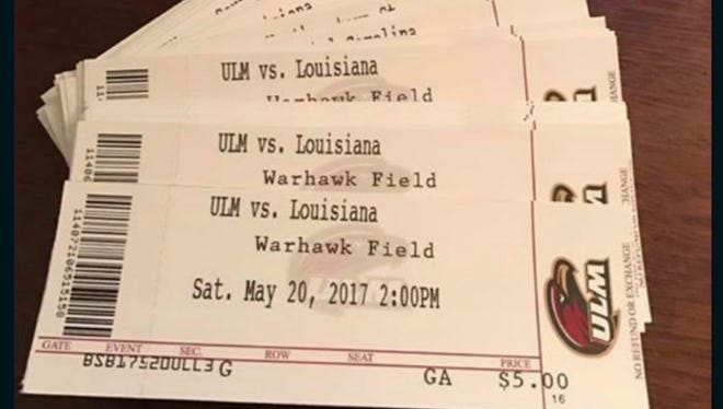 "ULM listed rival UL as ""Louisiana"" on its baseball season tickets per Sun Belt Conference protocol, according to athletic director Brian Wickstrom."