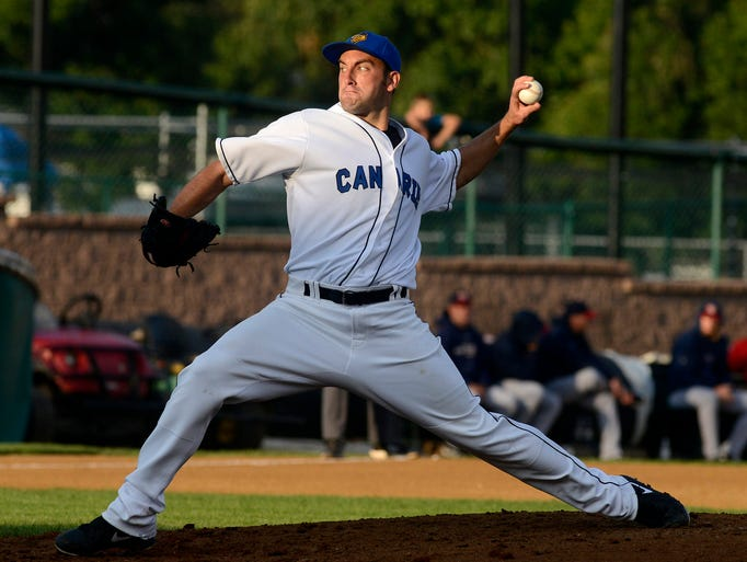 Matt Wickswat pitches for the Canaries as they play Winnipeg in Thursday's game in Sioux Falls, July 31, 2014.