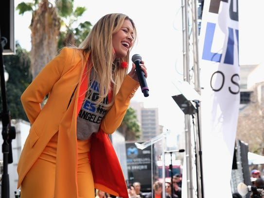 Rita Ora performs at the March for Our Lives Los Angeles