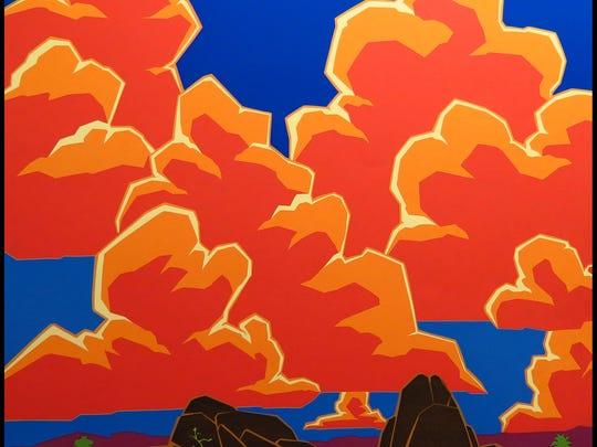 "This silkscreen print, ""Desert Song"" by Stephen & Bonnie Harmston was hand-printed using hand-cut stencils."
