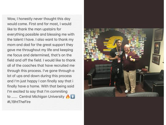 Dequan Finn commits to CMU on his Facebook page