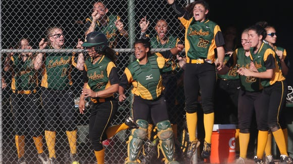 Lakeland defeated Brewster 4-3 in extra innings during the girls softball Section 1 Class A semifinal game at Brewster High School. May 24, 2017. .