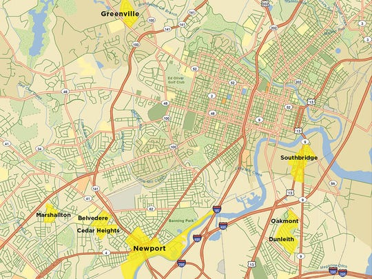 A look at where the seven New Castle County communities are located in relation to Greenville, an affluent neighborhood outside of Wilmington.