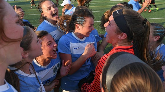 J.L. Mann celebrates its 3-1 win over Lexington in the Class AAAAA girls soccer state final May 12 in Columbia. Greenville County Schools will celebrate its successes of the past year and look ahead to the coming season with an event Thursday at Bon Secours Wellness Arena.