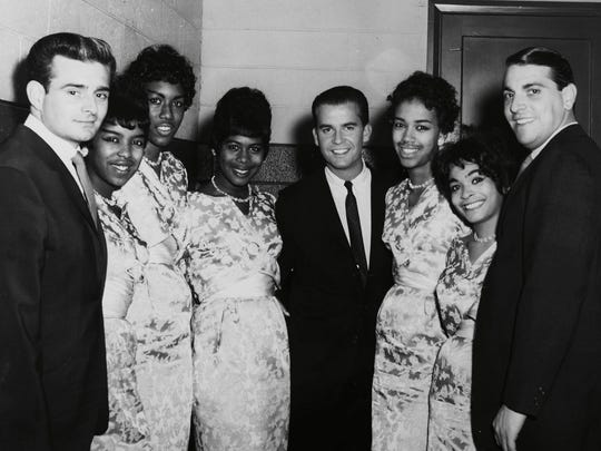 Barney Ales (far left) with the Marvelettes, Dick Clark (center) and promotion rep Buzz Curtis (far right).