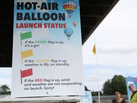 A yellow flag is raised indicating that balloon flights are on stand by during the Hudson Valley Hot-Air Balloon Festival at the Dutchess County Fairgrounds on Friday.