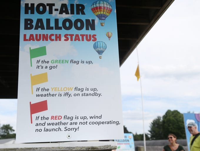 A yellow flag is raised indicating that balloon flights