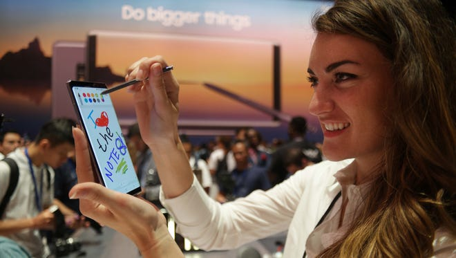 The Samsung Galaxy Note 8 features a bigger screen and annotated, 'live' text messages.
