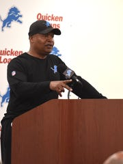 Lions coach Jim Caldwell addresses the media on May