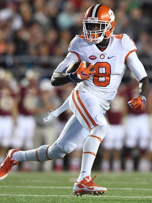 Clemson wide receiver Deon Cain (8), pictured during the Tigers' 2016 game against Boston College, is expected to be a star and leader of Clemson's offense in 2017.