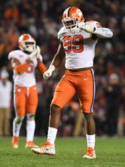 Clemson defensive lineman Clelin Ferrell (99) during the 3rd quarter on Saturday, November 25, 2017 at Carolina's Williams Brice Stadium.