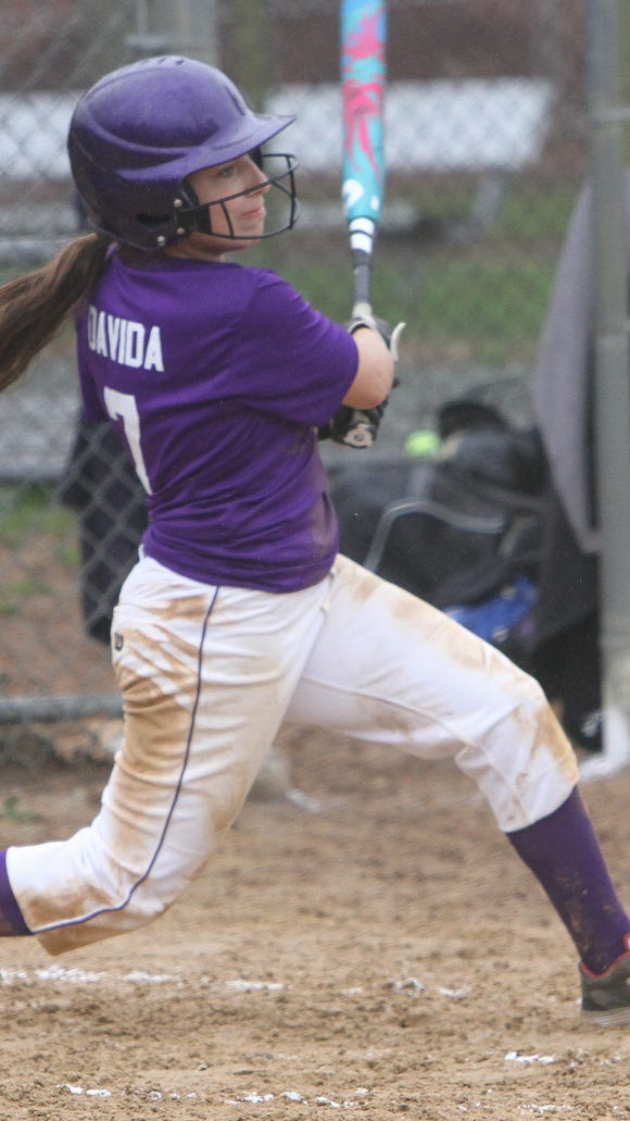 Clarkstown North sophomore Jenna Davida gets a hit