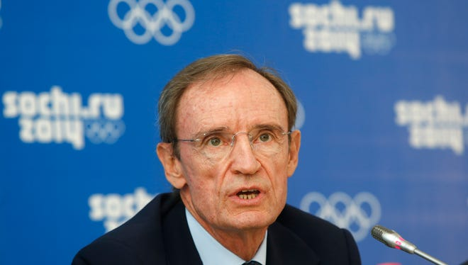 Jean-Claude Killy, chairman of the IOC Coordination Commission for Sochi 2014, speaks during a news conference in Sochi, Russia, Thursday.