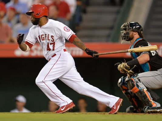 USP MLB: MIAMI MARLINS AT LOS ANGELES ANGELS S BBA USA CA
