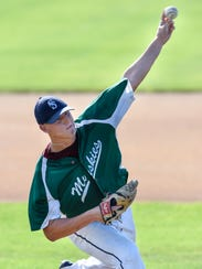 David Deminsky pitches for the Sartell Muskies during