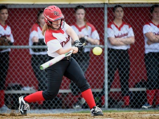 Dutchmen Alissa Binkley swings and connects during