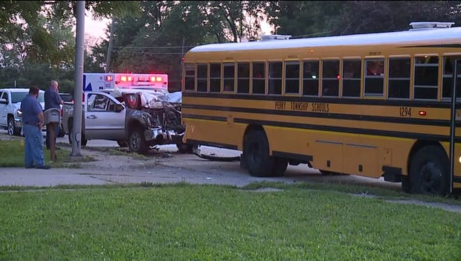 A Perry Township school bus was involved in a crash with another vehicle Monday morning, according to Fox59.