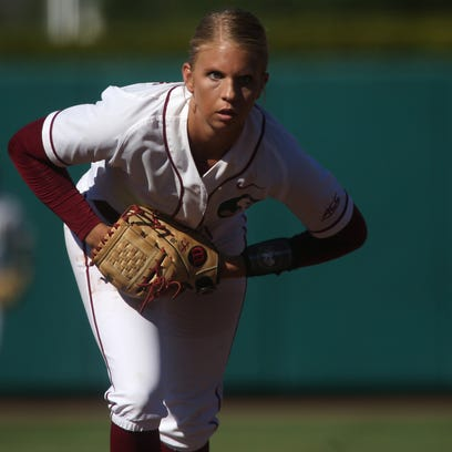 FSU's Jessica Burroughs pitches against LSU during