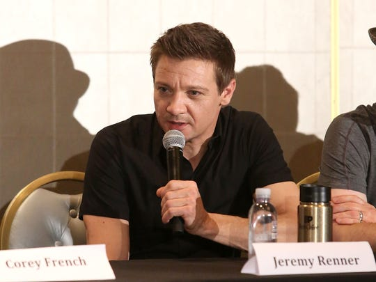 "Jeremy Renner, producer of ""The Founder,"" attends a press conference promoting the film on Jan. 12, 2017, in Los Angeles."