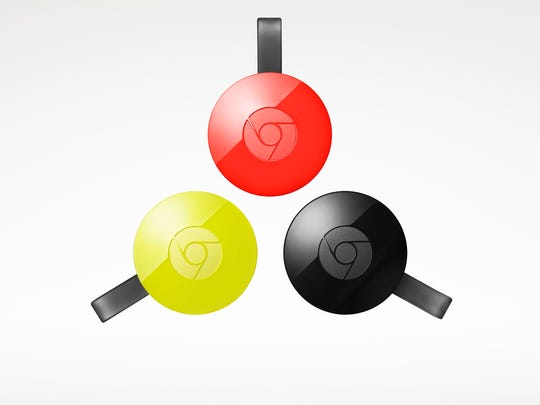 This image provided by Google shows the Chromecast.  The Chromecast is an odd hybrid gateway to relay streaming video from your laptop, phone or tablet to the TV.