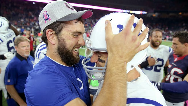 Former Indianapolis Colts quarterback Matt Hasselbeck says there is 'no chance' Andrew Luck wants out of Indy.  Here, Luck (12) hugs Matt Hasselbeck (8) following their 27-20 win over the Houston Texans.