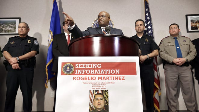 FBI Special Agent in Charge of the El Paso field office Emmerson Buie Jr. announces a $25,000 reward for information leading to the arrest and conviction of anyone involved in the death of Border Patrol Agent Rogelio Martinez.