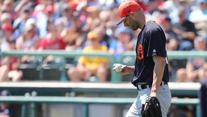 Tigers starting pitcher Mike Fiers (50) reacts during the first inning of the Tigers' 8-1 loss to the Braves in an exhibition on Thursday, March 15, 2018, in Kissimmee, Fla.
