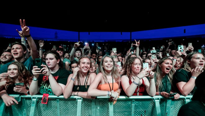 Post Malone performs during his North American tour at Michigan Lottery Amphitheatre at Freedom Hill in Sterling Heights, Tuesday, May 29, 2018.