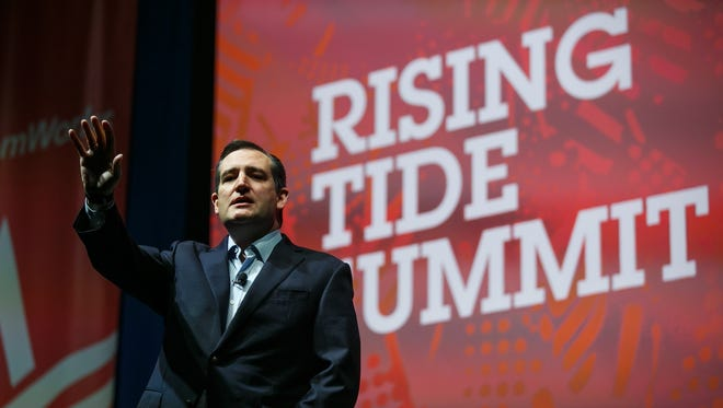 Republican presidential candidate Ted Cruz speaks during the Rising Tide Summit at The U.S. Cellular Center on Saturday, December 5, 2015, in Cedar Rapids.