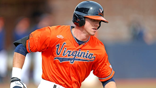 Cedar Crest grad Derek Fisher, shown here during his collegiate baseball career at Virginia,  continues to make progress in the Houston Astros organization.