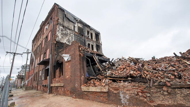 The remnants of the old Weaver Organ & Piano Co. factory on North Broad Street in York are seen in this photo from April 2.