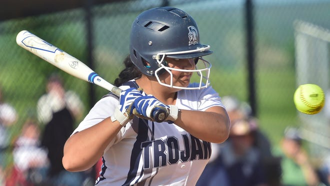 Brooklyn Miller bats for the Lady Trojans. Chambersburg defeated Cumberland Valley 11-5 in a PIAA District 3 softball playoff game on Tuesday, May 23, 2018 at Norlo Park.