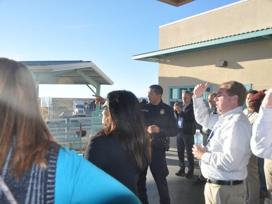 Leadership New Mexico's class of 2018 tour the international border crossing in Santa Theresa.