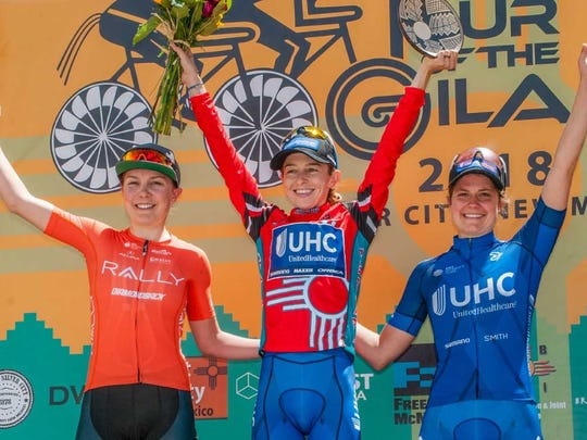 Diana Peuela Martinez, center, won Stage 5, ahead of Katie Hall, right, and Leah Thomas in third. Hall won the overall race.