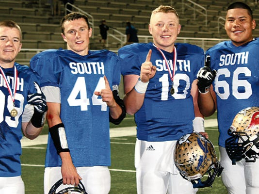 Parker Johnson, Grant Weaver, Cade Patterson and Kolton Bob played for the Class 4A South team at the annual North-South All Star game.