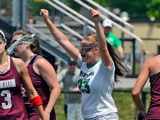 York's Jayme Verman celebrates after scoring a goal Sunday against Union College.