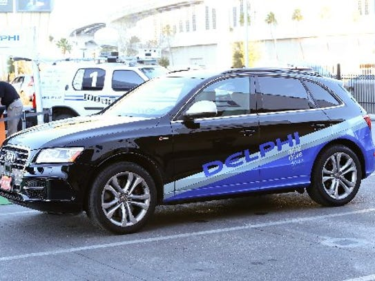 An Audi Q5, outfitted with Delphi Automotive self-driving