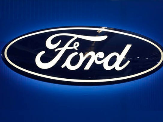 This Feb. 11, 2016, photo shows the Ford logo on display