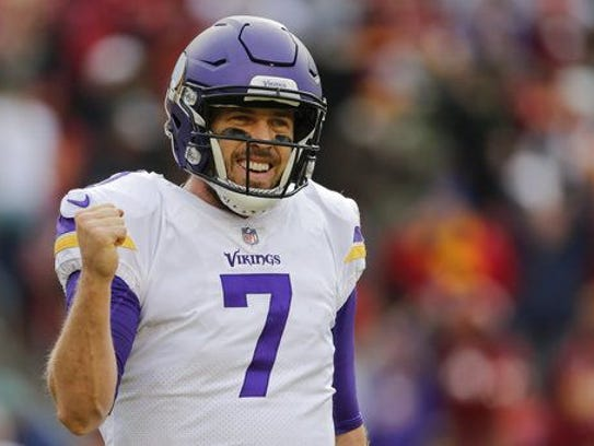 Minnesota Vikings quarterback Case Keenum (7) celebrates