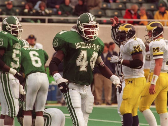 MSU linebacker Ike Reese looks to the sidelines after