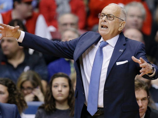 In this March 6, 2016, file photo, SMU coach Larry Brown works the sideline during the first half against Cincinnati.