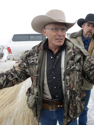 LaVoy Finicum, a rancher from Arizona, speaks to the media.