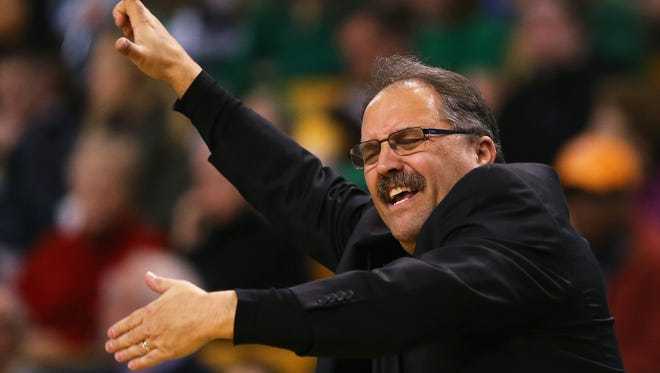 Stan Van Gundy of the Detroit Pistons directs his team during the third quarter at TD Garden on March 22, 2015 in Boston, Massachusetts.The Pistons defeat the Celtics 105-97.