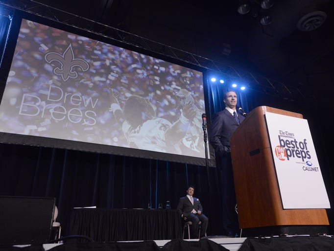 Drew Brees gives the key note address during the 2016