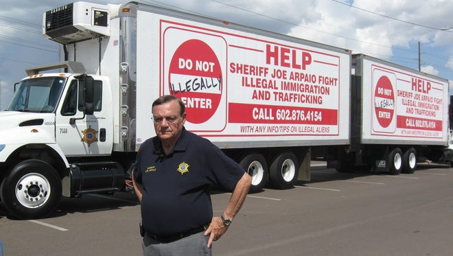 In 2007, then-Maricopa County Sheriff Joe Arpaio unveiled new trucks to advertise his anti-illegal-immigration hotline.