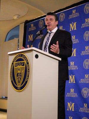 Former Detroit Lions kicker Eddie Murray speaks Feb. 9 at Madonna University in Livonia.