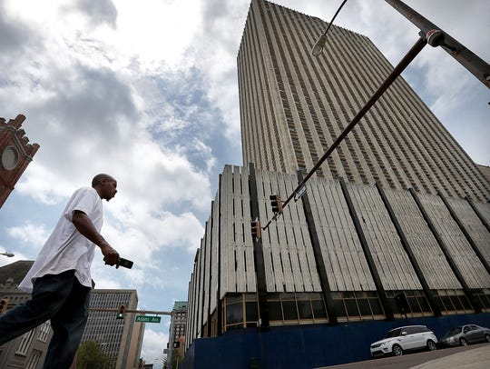 At the vacant 100 North Main office tower, the city's