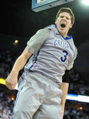 Doug McDermott of the Creighton Bluejays reacts after a dunk during their game against the Providence in Omaha, Neb.