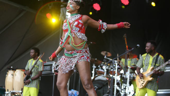 Femi Kuti & The Positive Force performed during Sunday afternoon's Forecastle festival. July 17, 2016.